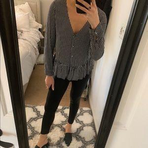 Zara pin stripe blouse